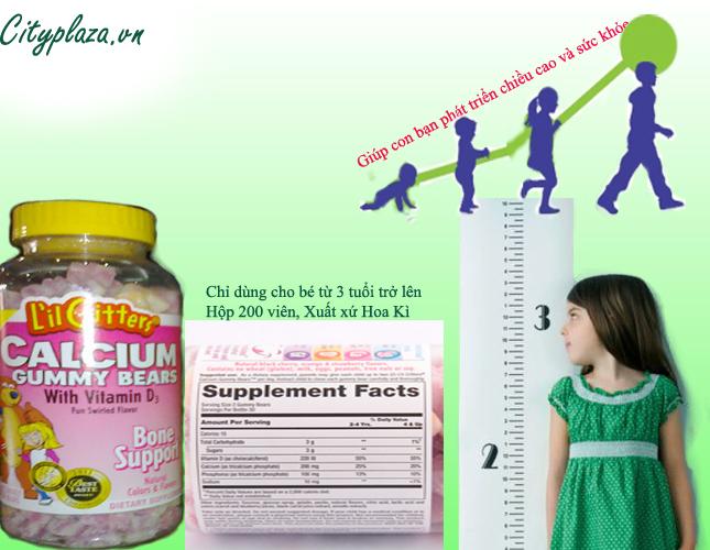 Kẹo gôm calcium gummy bear 200v - Sản phẩm của Hoa Kì